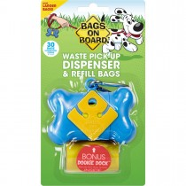 Bags on Board Waste Pick-Up Dispenser and Refill Bags with Dookie Dock 30 bags