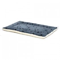 Midwest Quiet Time Reversible Fleece Paw Print Mat Blue and White