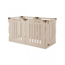 """Richell Convertible Indoor/Outdoor Pet Playpen 6 Panel Soft Tan/Mocha 63.8"""" x 33.1"""" x 36"""" - R94192"""