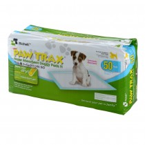 "Richell Paw Trax Pet Training Pads 50 Count White 17.7"" x 23.6"" x 0.2"" - R94542"