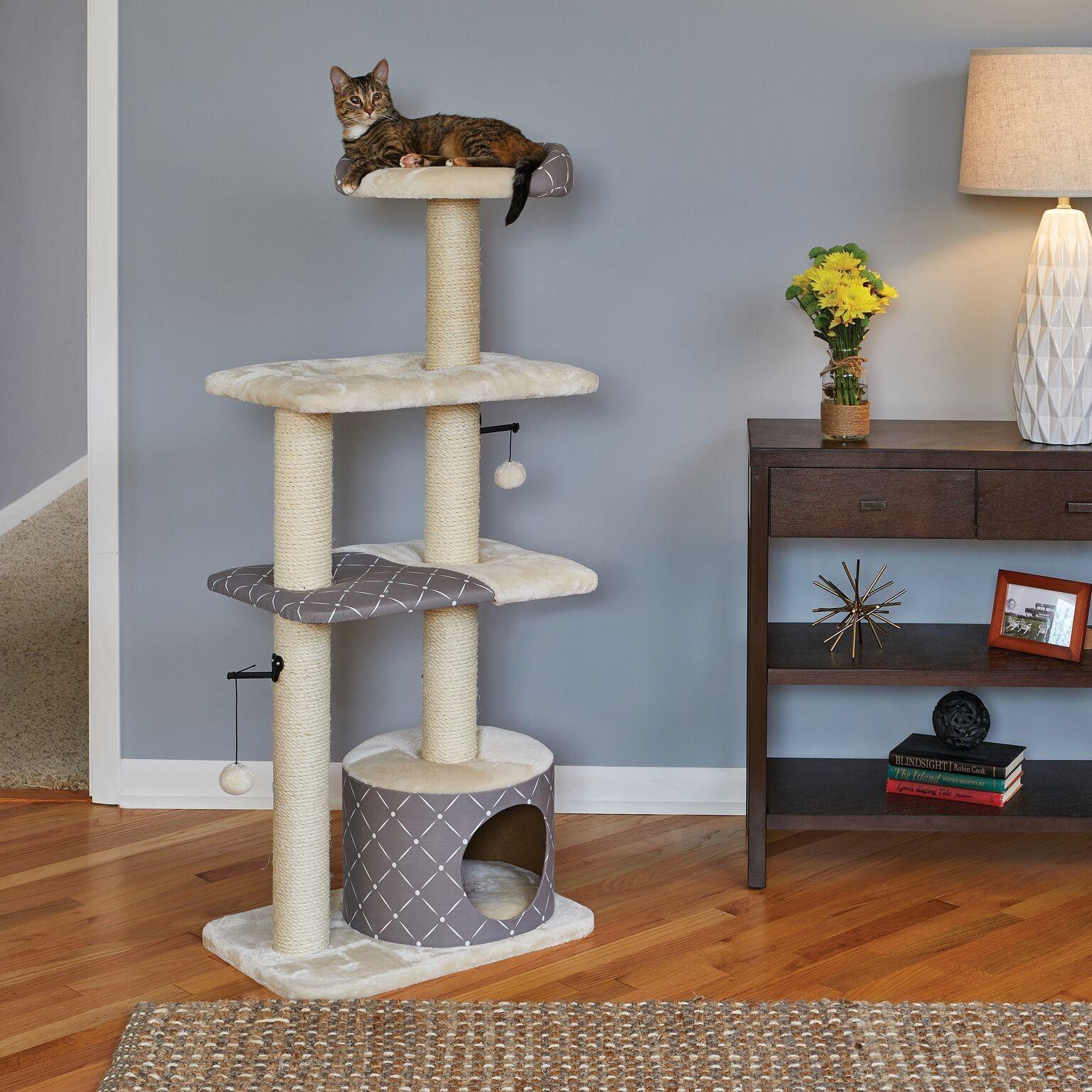 """Midwest Feline Nuvo Tower Cat Furniture Mushroom 22"""" x 15"""" x 50.5"""" - 138T-MRD"""