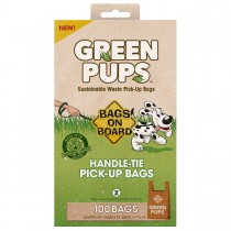 Bags on Board Green-Ups Waste Pick-Up Hand Tie Bags 100 count Brown - 3203940050