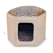 "K&H Pet Products Thermo-Kitty Sleephouse Tan / Leopard 17"" x 16"" x 13"" - KH3891"