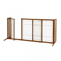 "Richell Deluxe Freestanding Pet Gate with Door Medium Brown 61.8 - 90.2"" x 24"" x 28"" - R94189"